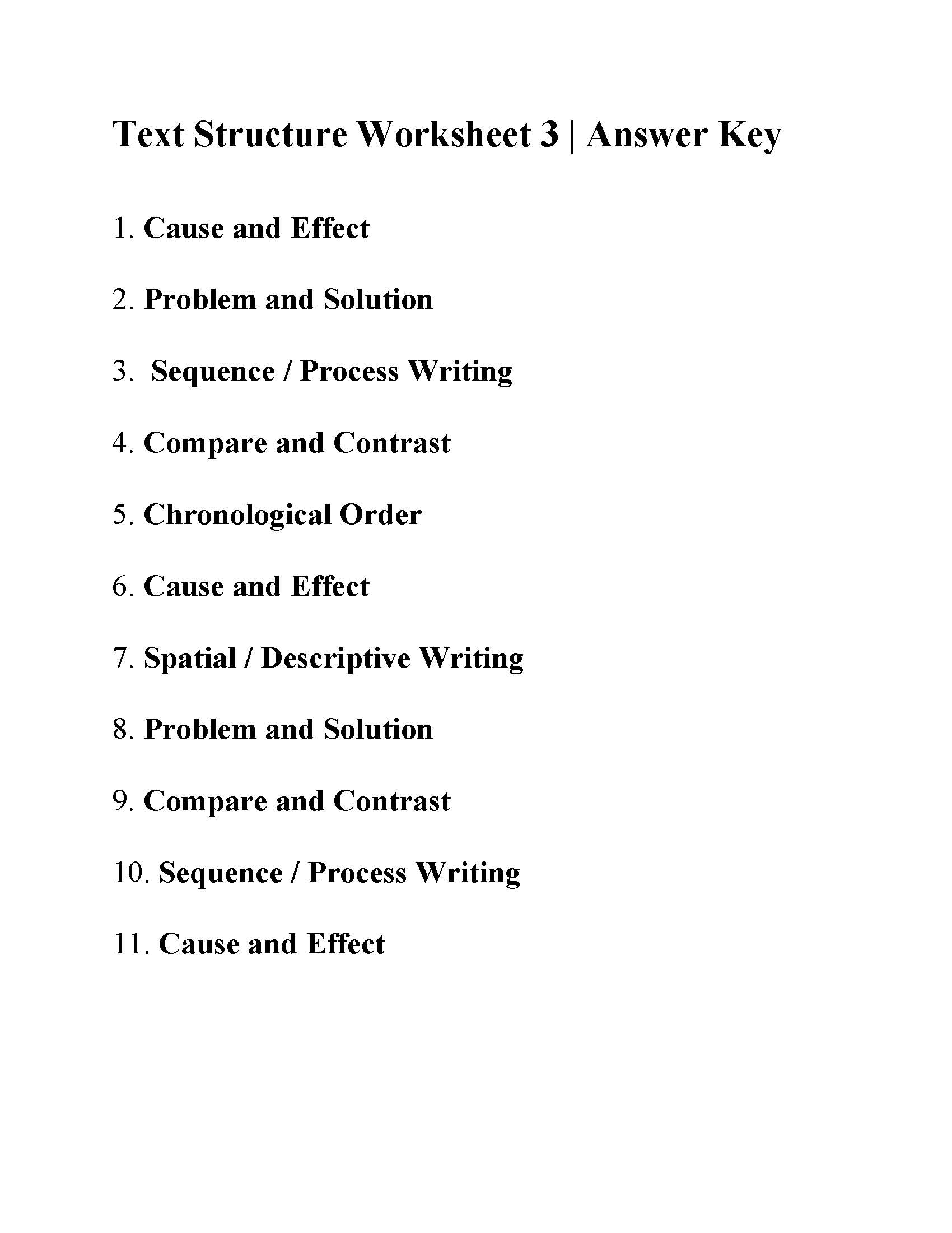 Text Structure Worksheet 3 Answers