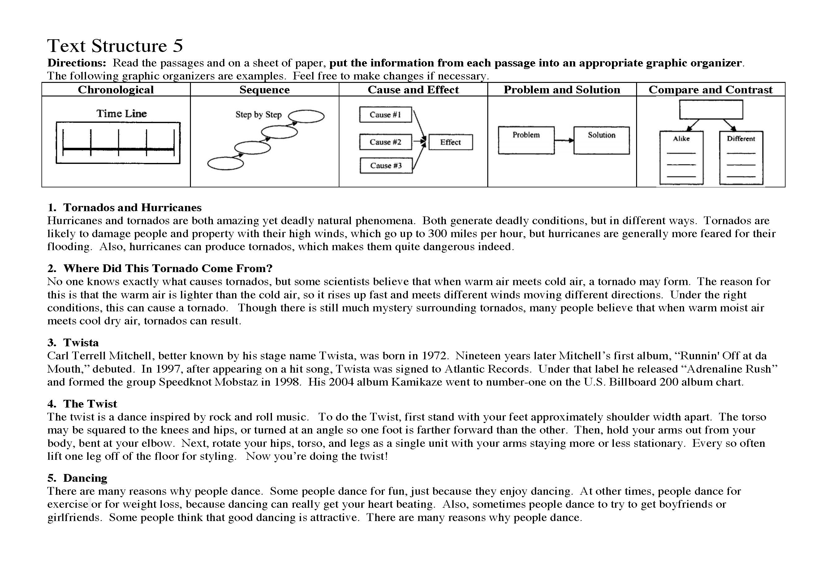 Preview A Text Worksheet : Text structure worksheet preview