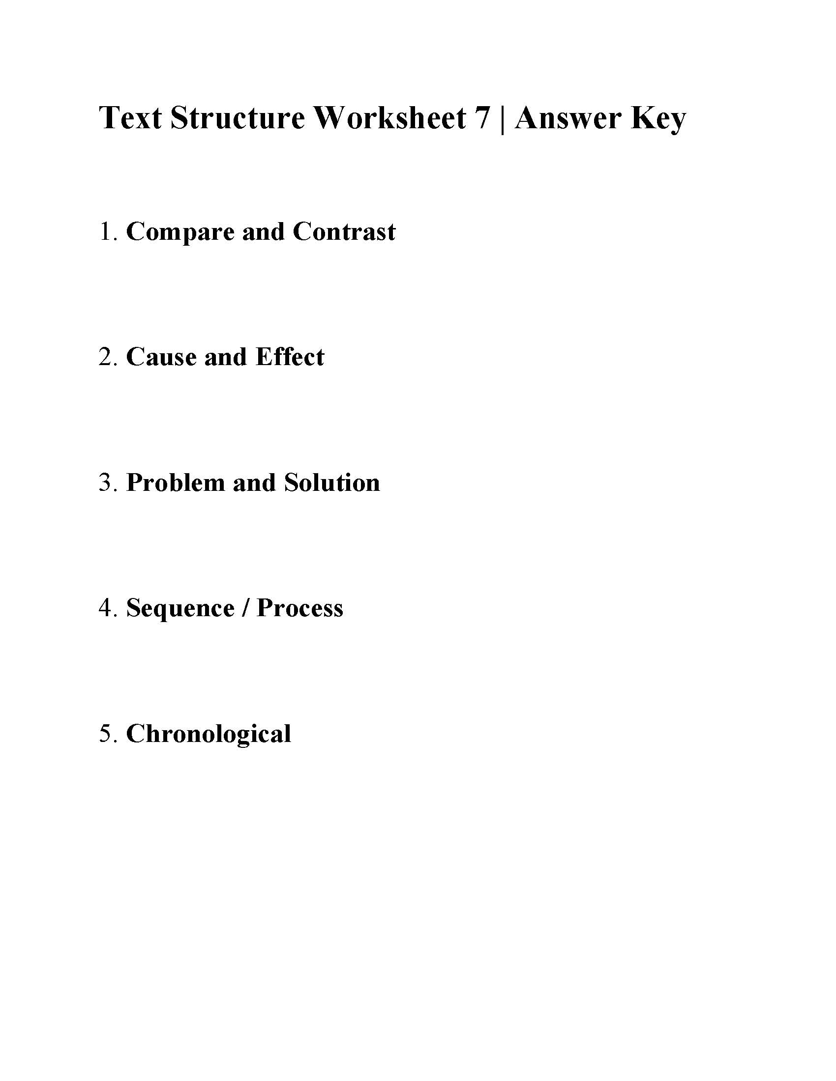 Text Structure Worksheet 7 Answers