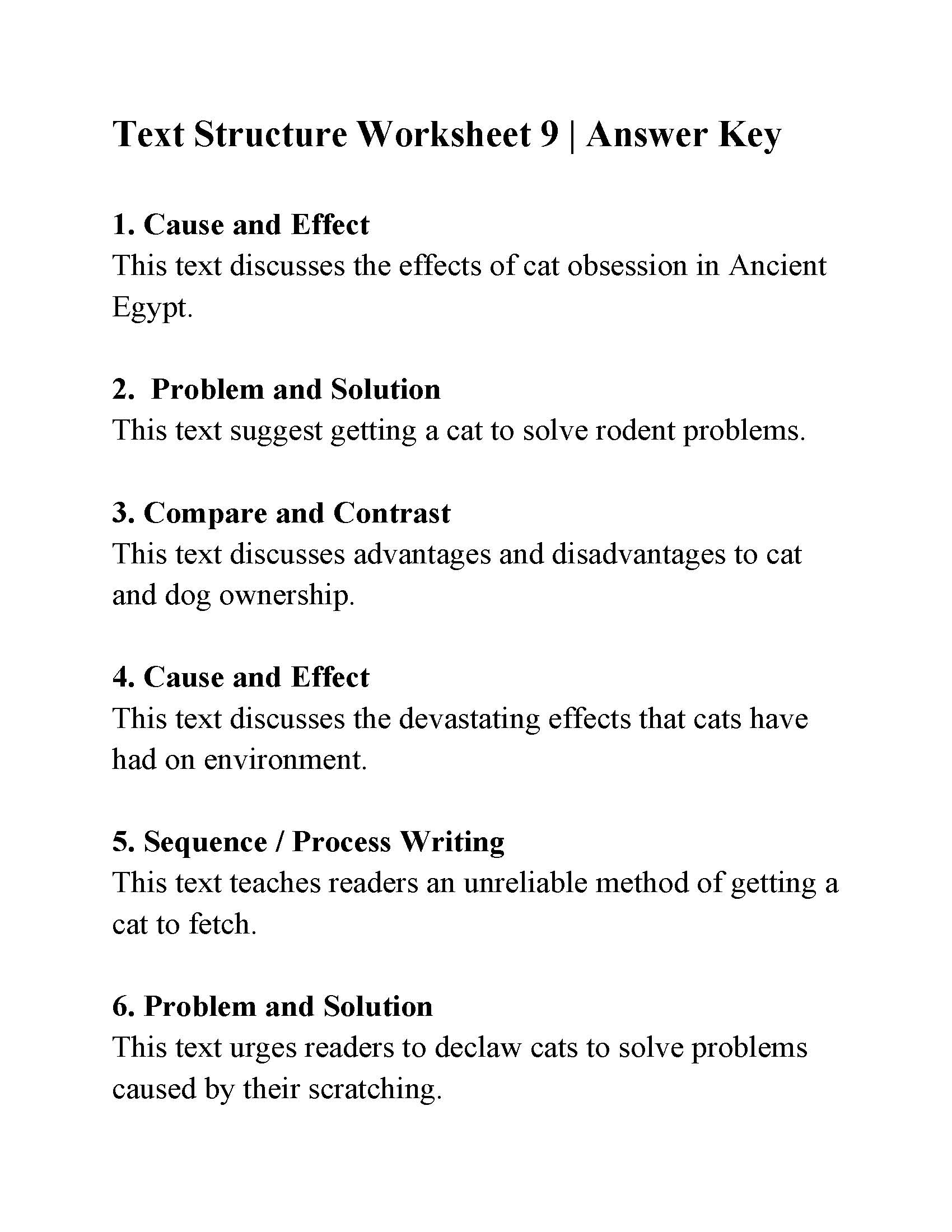 Text Structure Worksheet 9 | Answers