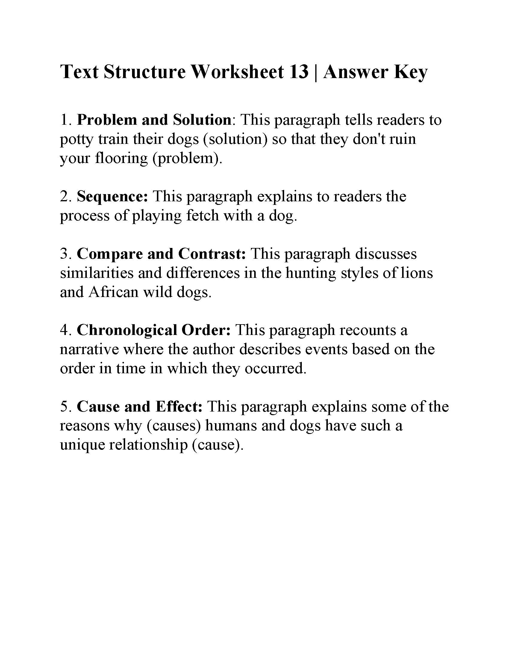 Text Structure Worksheet 13 | Answers
