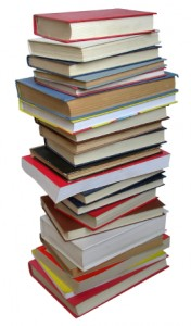 This is a stack of books. It is meant to represent the many resources that are required to tackle these persuasive essay topics.