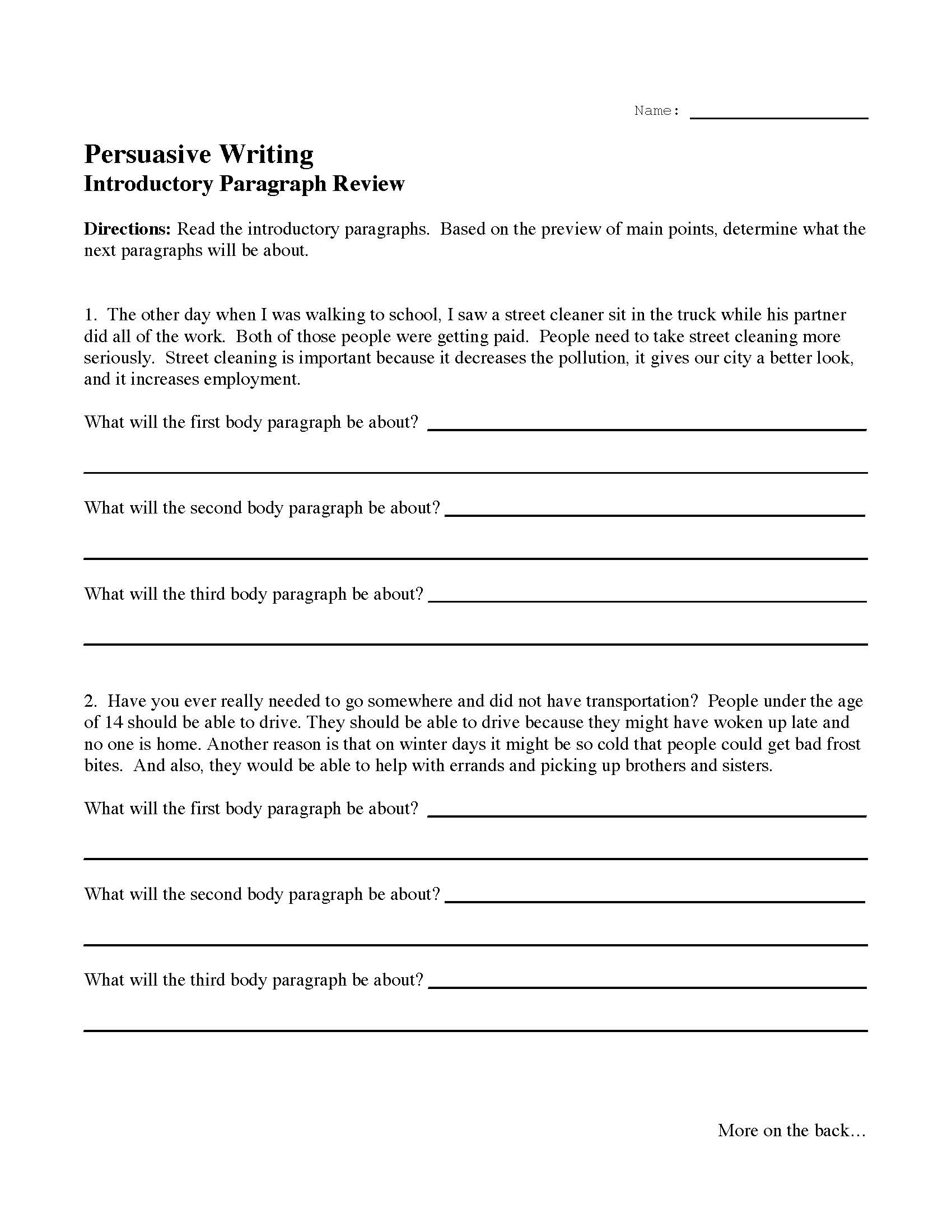 This is a preview image of the Introductory Paragraph Review Activity.